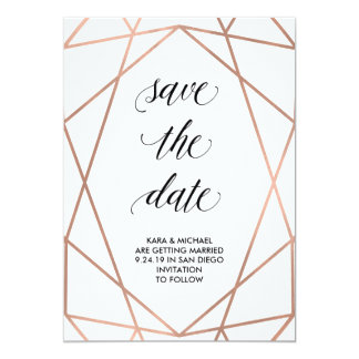 Faux Rose Gold Geometric on White   Save the Date Card