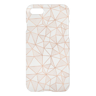 Faux Rose Gold Geometric Pattern Clear iPhone 7 Case
