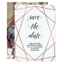 Faux Rose Gold Geometric Save the Date | Photo Invitation