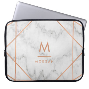 b66bd84cc9 Faux Rose Gold Geometric | White Marble Look Computer Sleeve
