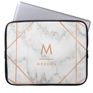 Faux Rose Gold Geometric | White Marble Look Computer Sleeve