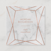 Faux Rose Gold Geometric | White Marble Look Square Business Card