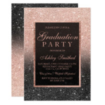 Faux rose gold glitter black Graduation party Card