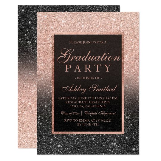 Zazzle graduation party invitations image collections invitation zazzle graduation party invitations choice image coloring pages adult faux rose gold glitter black graduation party filmwisefo
