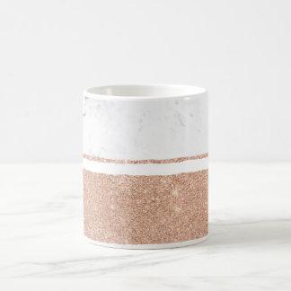 Faux rose gold glitter black white marble stripes coffee mug