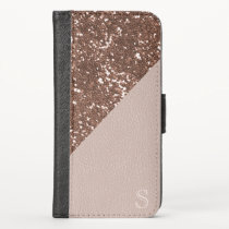 Faux Rose Gold Glitter Blush Leather iPhone X Wallet Case
