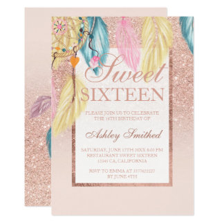 Faux rose gold glitter boho dreamcatcher Sweet 16 Card