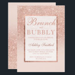 """Faux rose gold glitter brunch bubbly bridal shower card<br><div class=""""desc"""">A modern, pretty chic and elegant faux rose gold glitter shower ombre brunch and bubbly bridal shower with pastel blush pink color block bridal shower party invitation with rose gold ombre pattern fading onto a pink background with and elegant gold frame Perfect for a princess bride, perfect for her, the...</div>"""