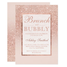 Faux rose gold glitter brunch bubbly bridal shower card