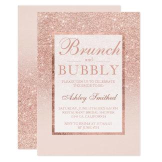 Faux rose gold glitter brunch bubbly bridal shower card