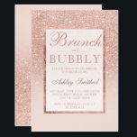 "Faux rose gold glitter brunch bubbly bridal shower invitation<br><div class=""desc"">A modern, pretty chic and elegant faux rose gold glitter shower ombre brunch and bubbly bridal shower with pastel blush pink color block bridal shower party invitation with rose gold ombre pattern fading onto a pink background with and elegant gold frame Perfect for a princess bride, perfect for her, the...</div>"