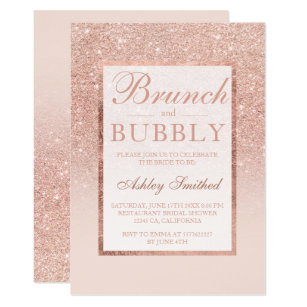 Glitter bridal shower invitations zazzle faux rose gold glitter brunch bubbly bridal shower invitation filmwisefo