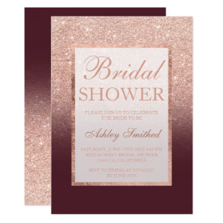 Faux rose gold glitter burgundy chic Bridal shower Card