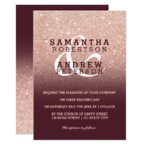 Faux Rose gold glitter burgundy ombre wedding Invitation