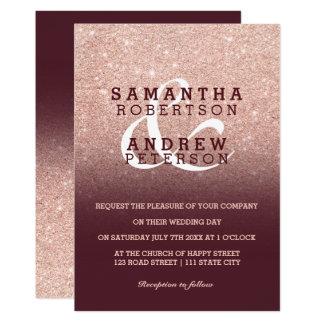 Faux Rose gold glitter burgundy ombre wedding Invitation