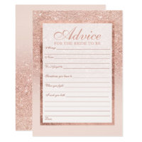 Faux rose gold glitter elegant Advice bridal 2 Card
