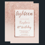 """Faux rose gold glitter elegant chic 18th Birthday Invitation<br><div class=""""desc"""">A modern, pretty chic and elegant faux rose gold glitter shower ombre with pastel blush pink color block eighteenth birthday party invitation with rose gold ombre pattern fading onto a pink background with and elegant gold frame Perfect for a princess 18th birthday, perfect for her, the fashionista who loves modern...</div>"""
