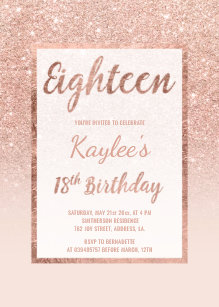 Faux rose gold glitter elegant chic 18th Birthday Invitation