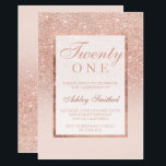"Faux rose gold glitter elegant chic 21st birtday invitation<br><div class=""desc"">A modern, pretty chic and elegant faux rose gold glitter shower ombre twenty one, with pastel blush pink color block twenty first birthday party invitation with rose gold ombre pattern fading onto a pink background with and elegant gold frame Perfect for a princess 21st birthday, perfect for her, the fashionista...</div>"