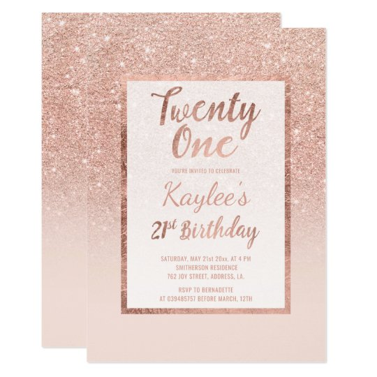 Faux Rose Gold Glitter Elegant Chic 21st Birthday Invitation