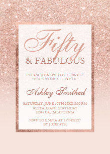 50 and fabulous invitations zazzle faux rose gold glitter elegant chic 50 fabulous invitation filmwisefo