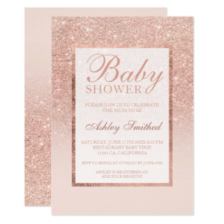 Faux rose gold glitter elegant chic Baby shower Card