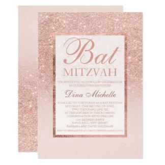 Faux rose gold glitter elegant chic Bat Mitzvah Card