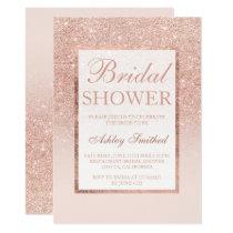 Faux rose gold glitter elegant chic Bridal shower Invitation