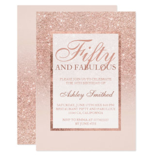 Faux rose gold glitter elegant chic fifty fabulous card