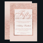 "Faux rose gold glitter elegant chic fifty fabulous invitation<br><div class=""desc"">A modern,  pretty chic and elegant faux rose gold glitter shower ombre with pastel blush pink color block Fifty and fabulous fiftieth birthday party invitation with rose gold ombre pattern fading onto a pink background with and elegant gold frame Perfect for a princess 50th birthday.</div>"