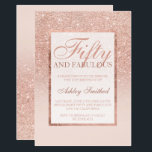 """Faux rose gold glitter elegant chic fifty fabulous invitation<br><div class=""""desc"""">A modern,  pretty chic and elegant faux rose gold glitter shower ombre with pastel blush pink color block Fifty and fabulous fiftieth birthday party invitation with rose gold ombre pattern fading onto a pink background with and elegant gold frame Perfect for a princess 50th birthday.</div>"""