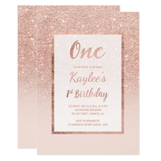 Faux rose gold glitter elegant chic firstBirthday Card