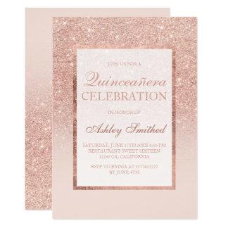 Faux rose gold glitter elegant chic Quinceañera Card