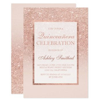 Faux Rose Gold Glitter Elegant Chic Quinceañera Card by girly_trend at Zazzle