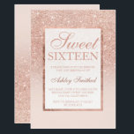 """Faux rose gold glitter elegant chic Sweet 16 Card<br><div class=""""desc"""">A modern, pretty chic and elegant faux rose gold glitter shower ombre with pastel blush pink color block Sweet 16 birthday party invitation with rose gold ombre pattern fading onto a pink background with and elegant gold frame Perfect for a princess Sweet sixteen, perfect for her, the fashionista who loves...</div>"""