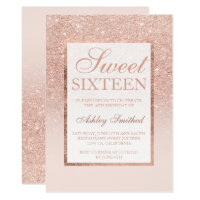 Faux rose gold glitter elegant chic Sweet 16 Card