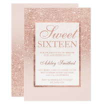 Faux rose gold glitter elegant chic Sweet 16 Invitation