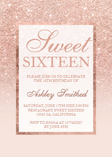 Glitter invitations announcements zazzle faux rose gold glitter elegant chic sweet 16 invitation filmwisefo