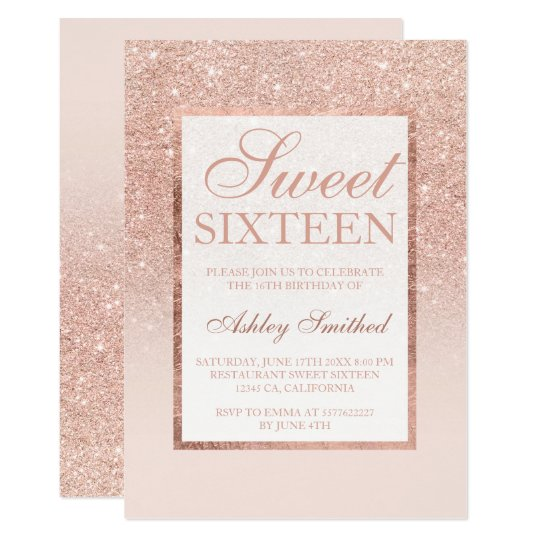 Faux Rose Gold Glitter Elegant Chic Sweet 16 Invitation Zazzle Com