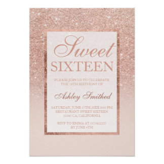 Faux rose gold glitter elegant chic Sweet 16 Poster