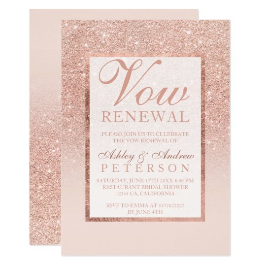Faux Rose Gold Glitter Elegant Chic Vow Renewal Invitation Zazzle Com