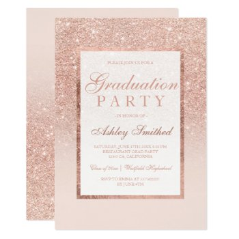 Faux Rose Gold Glitter Elegant Graduation Party Card by girly_trend at Zazzle