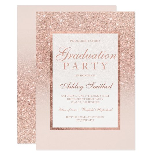 Faux Rose Gold Glitter Elegant Graduation Party Invitation Zazzle Com