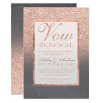 Faux rose gold glitter grey cement Vow Renewal Invitation