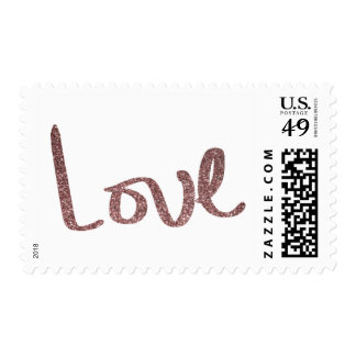Faux Rose Gold Glitter Hand Lettered Love Type Postage