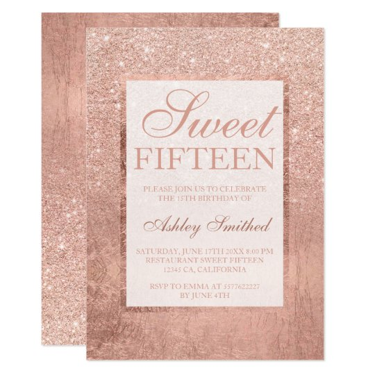 Faux Rose Gold Glitter Leaf Elegant Chic Sweet 15 Invitation