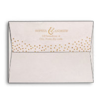 Faux rose gold glitter liner & return address envelope