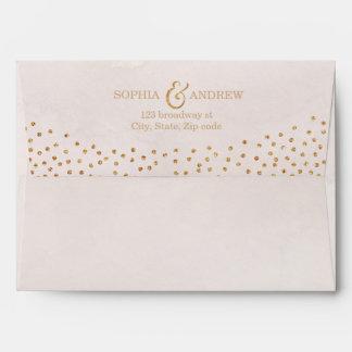 Faux rose gold glitter liner & return address envelope