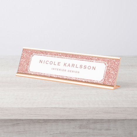 Faux Rose Gold Glitter Lux Personalized Name Plate