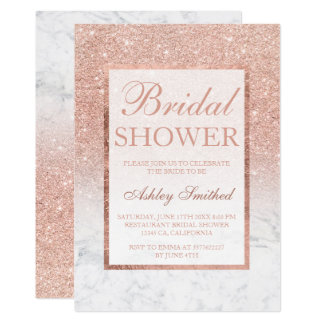 Faux rose gold glitter marble chic Bridal shower Card